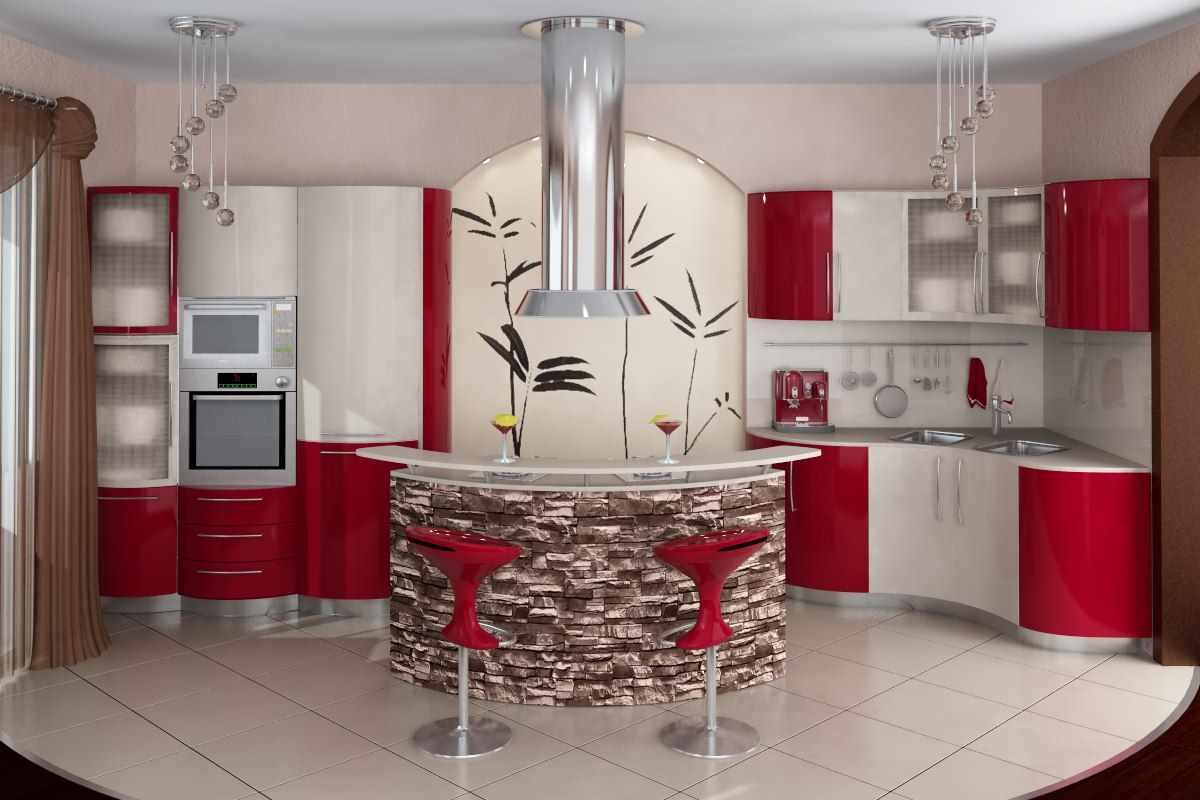 ideea unui decor ușor de bucătărie roșie