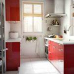 ideea unui decor frumos de poză de bucătărie roșie