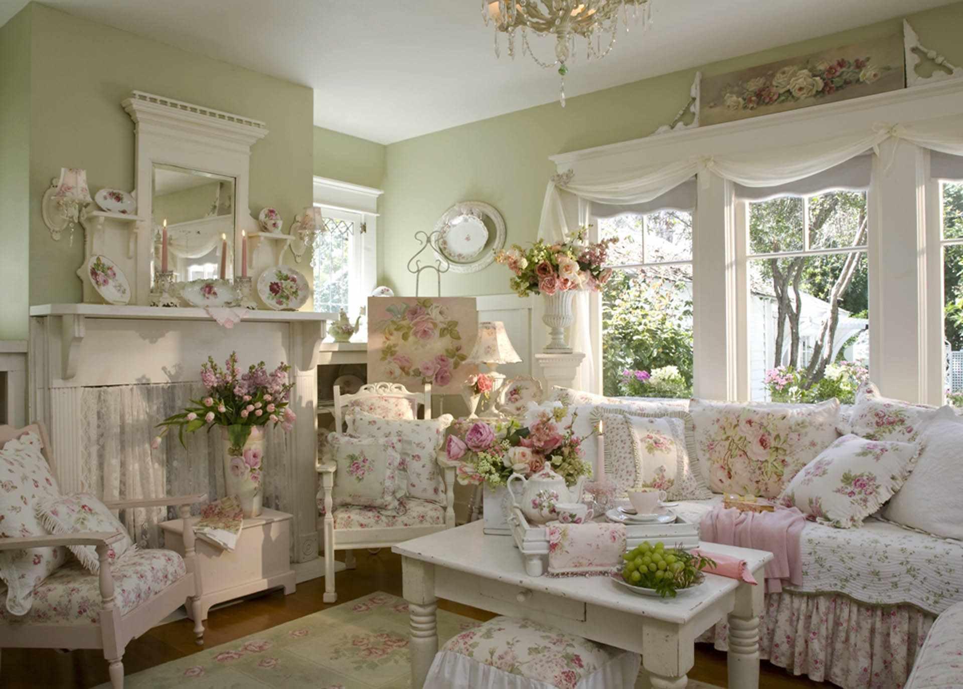 Một ví dụ về nội thất tươi sáng Provence trong phòng khách