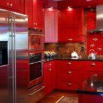 ideea unei imagini interioare de bucătărie roșie interioară strălucitoare
