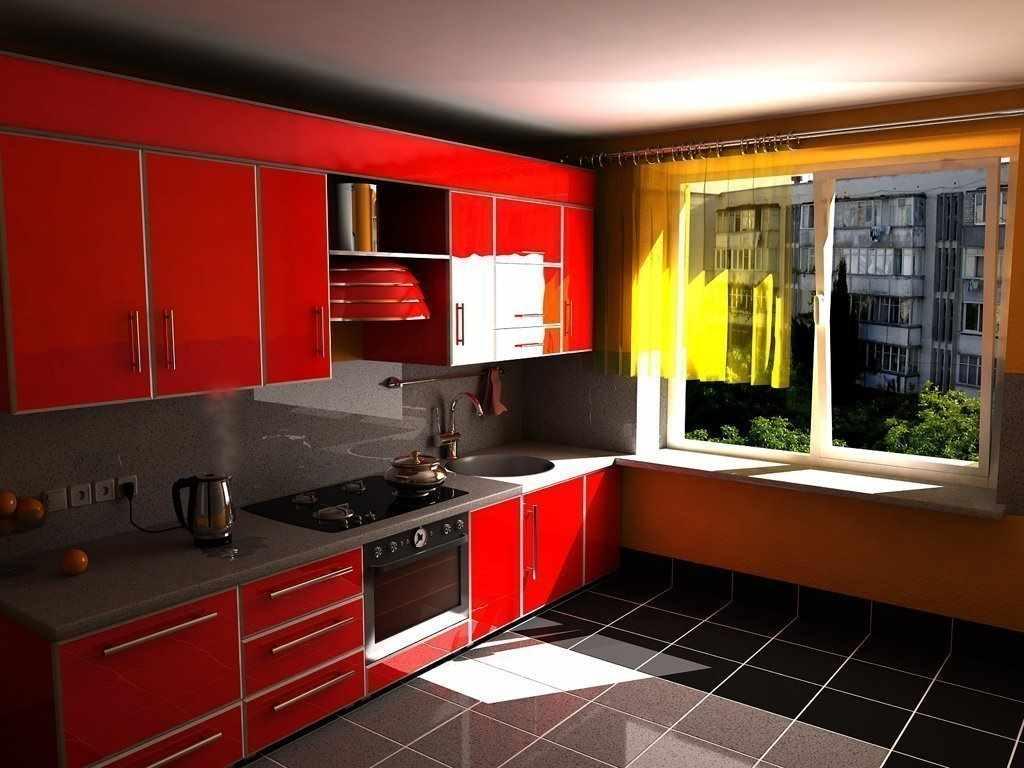 un exemplu de interior neobișnuit al unei bucătării roșii