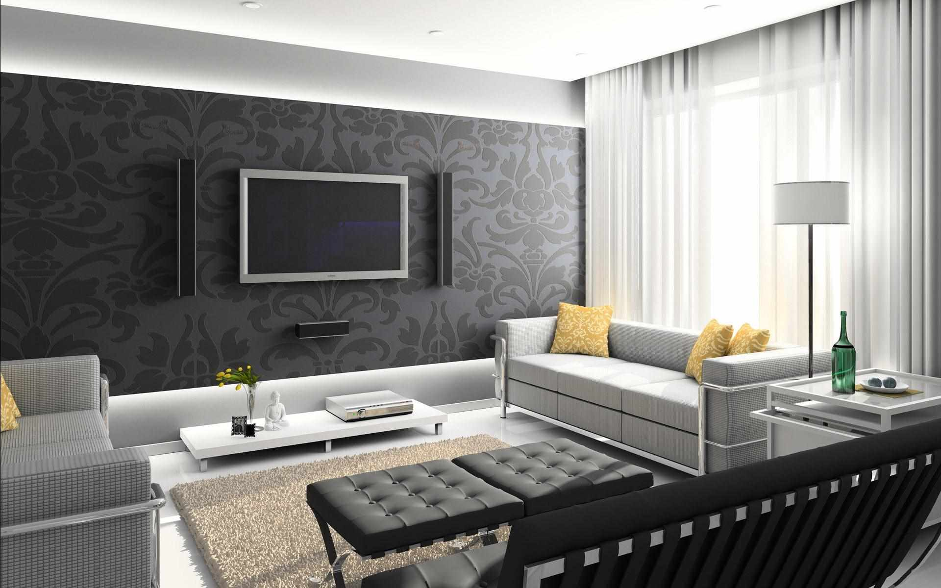 biến thể của một phong cách đẹp của giấy dán tường cho phòng khách