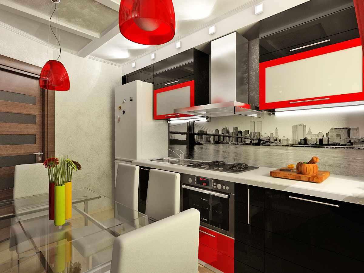 idee de design luminos al bucătăriei roșii