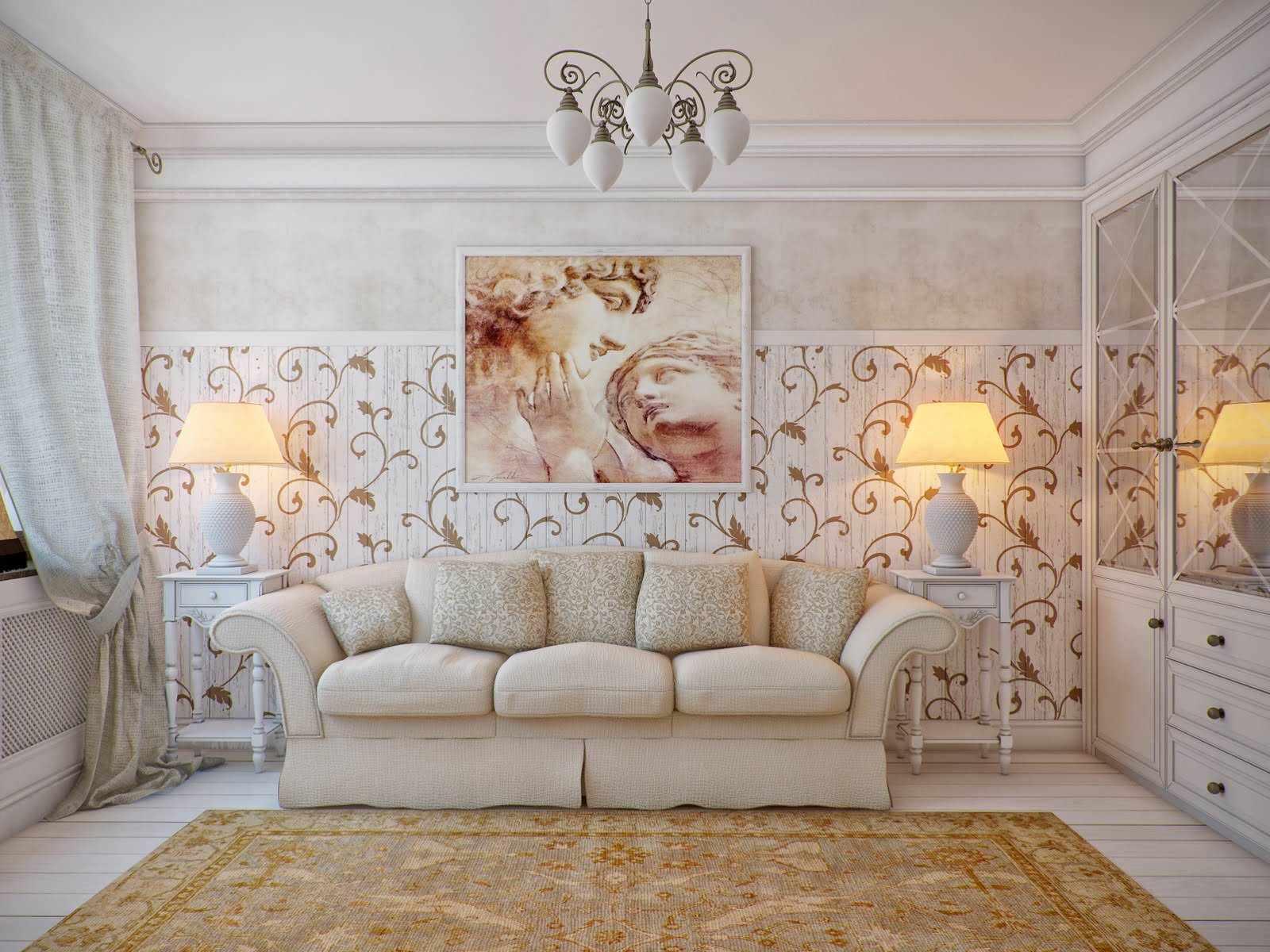 phiên bản của thiết kế khác thường của provence trong phòng khách