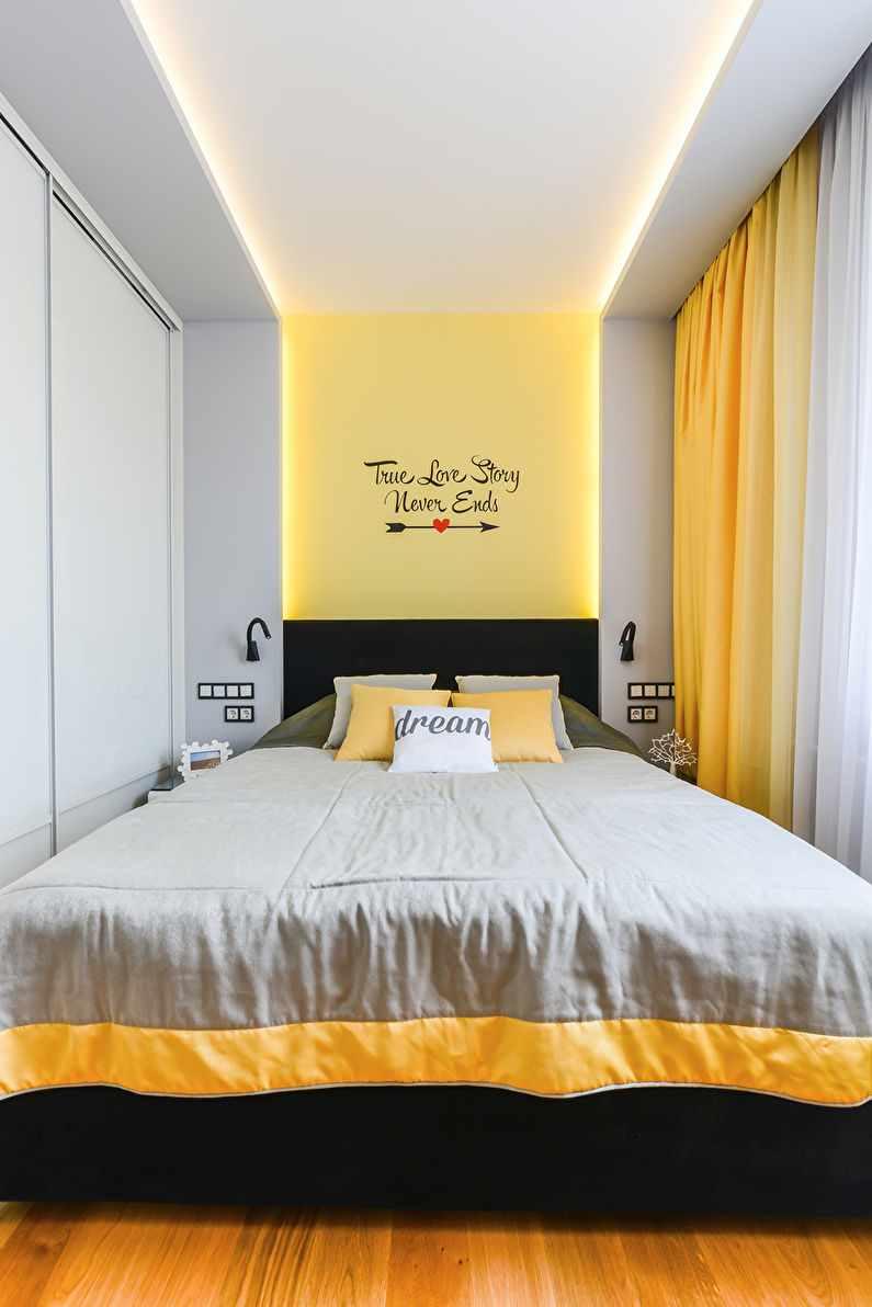 Un exemple d'un intérieur lumineux d'une chambre étroite