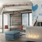 một ví dụ về việc sử dụng nội thất sáng sủa của phòng khách theo phong cách tranh tối giản