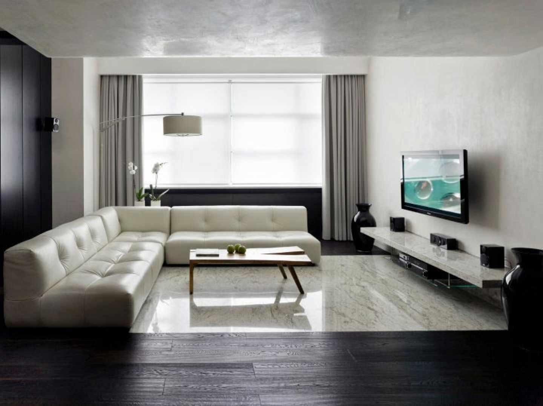 một ví dụ về việc sử dụng thiết kế sáng sủa của phòng khách theo phong cách tối giản