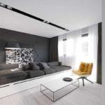 ví dụ về việc sử dụng trang trí đẹp mắt của phòng khách theo phong cách tranh tối giản