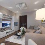 ý tưởng sử dụng một thiết kế khác thường của một phòng khách theo phong cách của bức tranh tối giản
