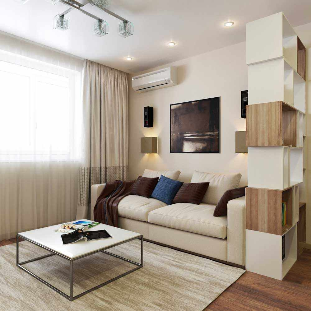 Un exemple d'un design lumineux d'un salon de 16 m²