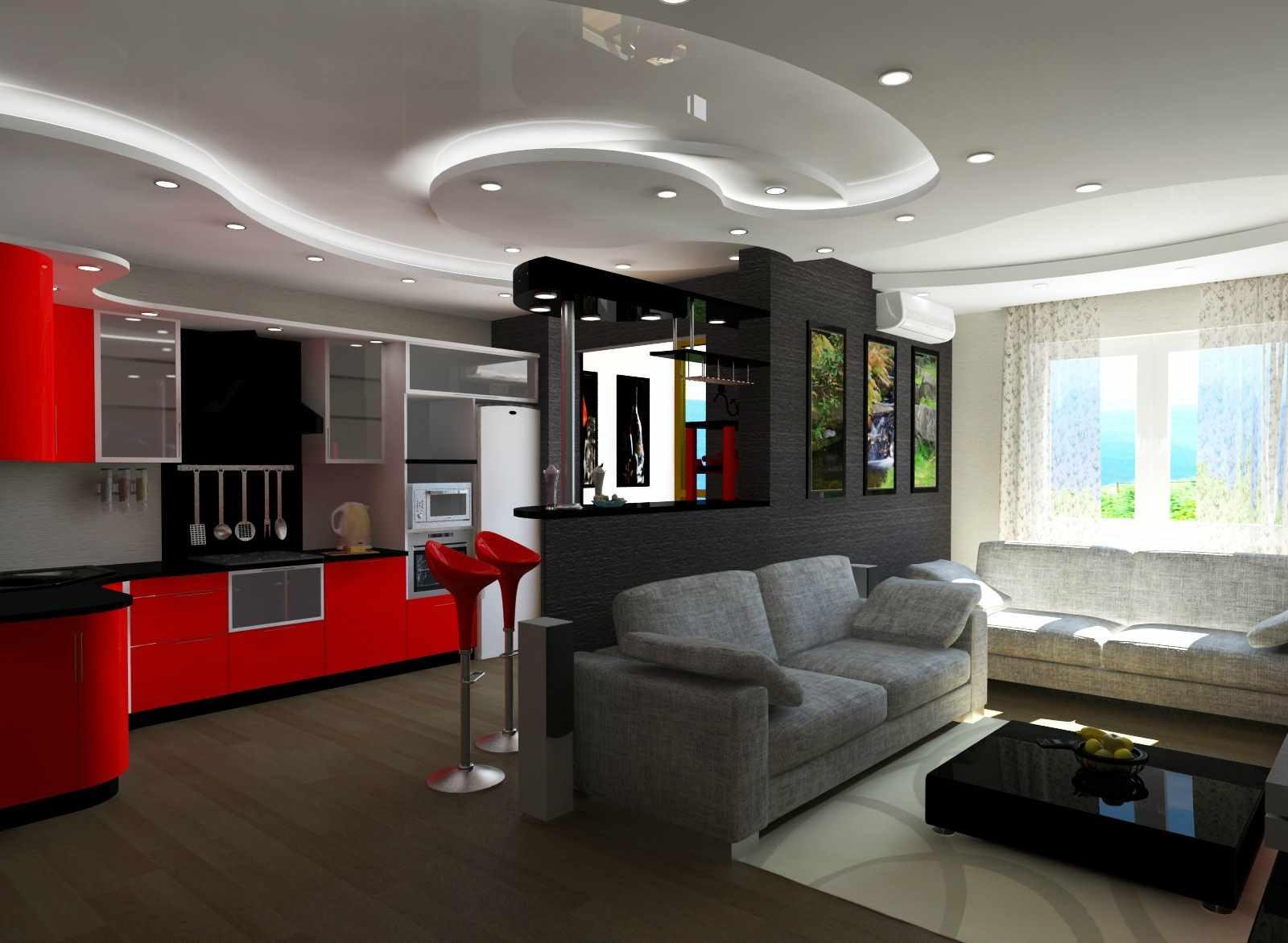 biến thể của trang trí khác thường của phòng khách 19-20 sq.m