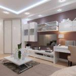 biến thể của trang trí tươi sáng của phòng khách ảnh 19-20 m2