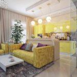 version du beau design du salon photo de 25 m²