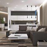 ví dụ về việc sử dụng trang trí tươi sáng của phòng khách theo phong cách tranh tối giản