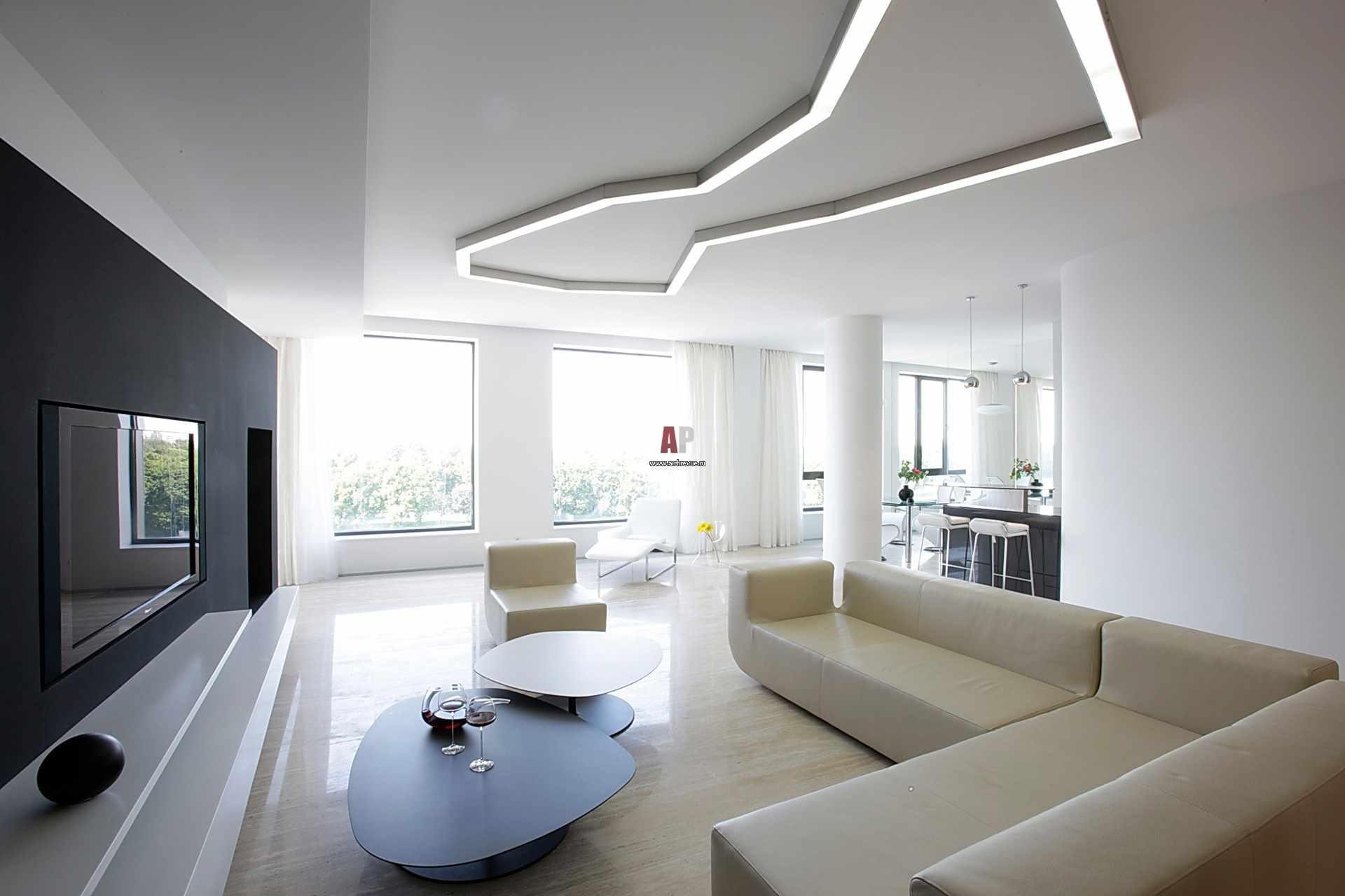 một ví dụ về việc sử dụng một thiết kế khác thường của phòng khách theo phong cách tối giản
