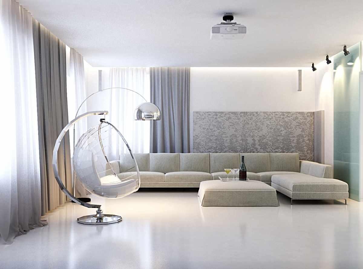 một ví dụ về việc sử dụng trang trí khác thường của phòng khách theo phong cách tối giản