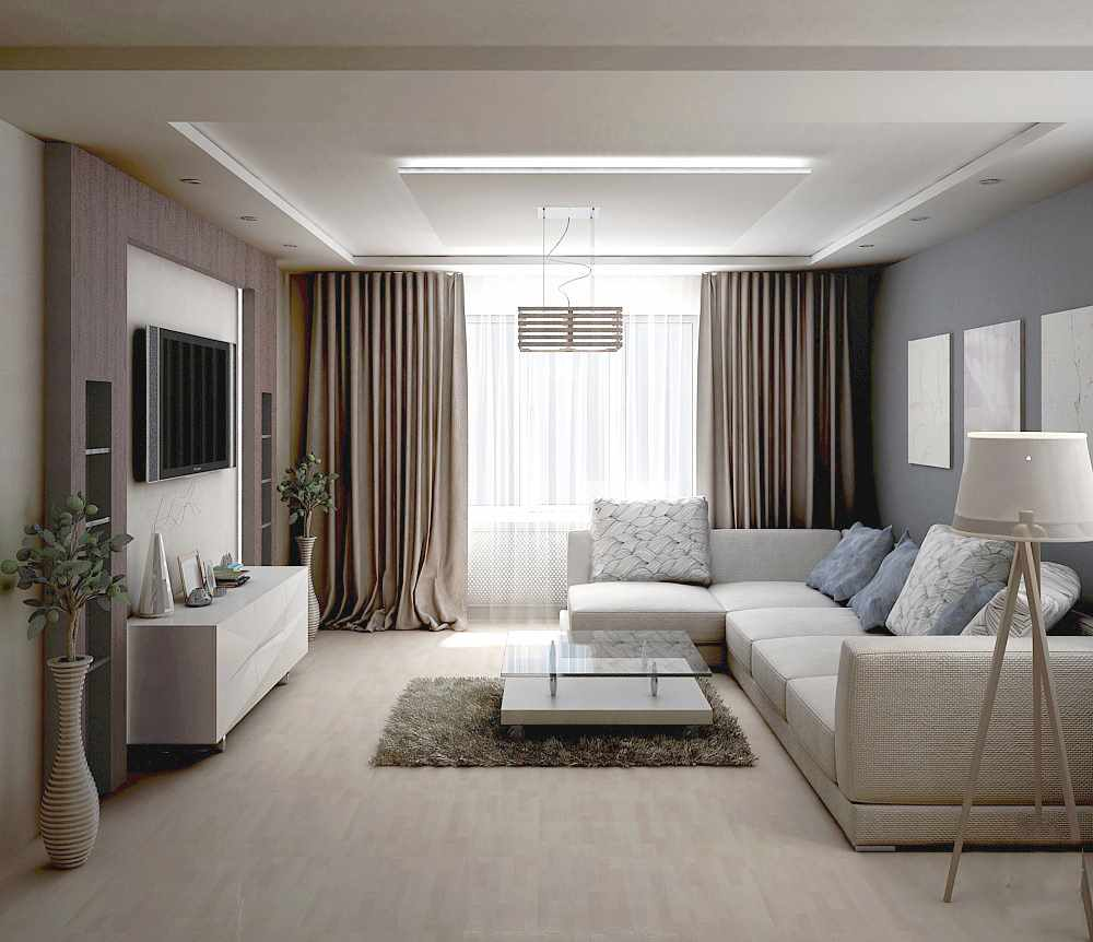 Un exemple de design lumineux d'un salon de 17 m²