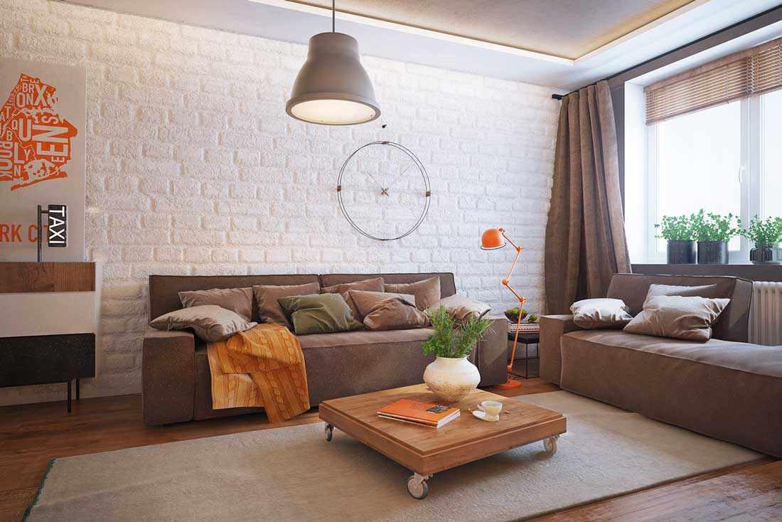 variante de l'intérieur insolite du salon 16 m²