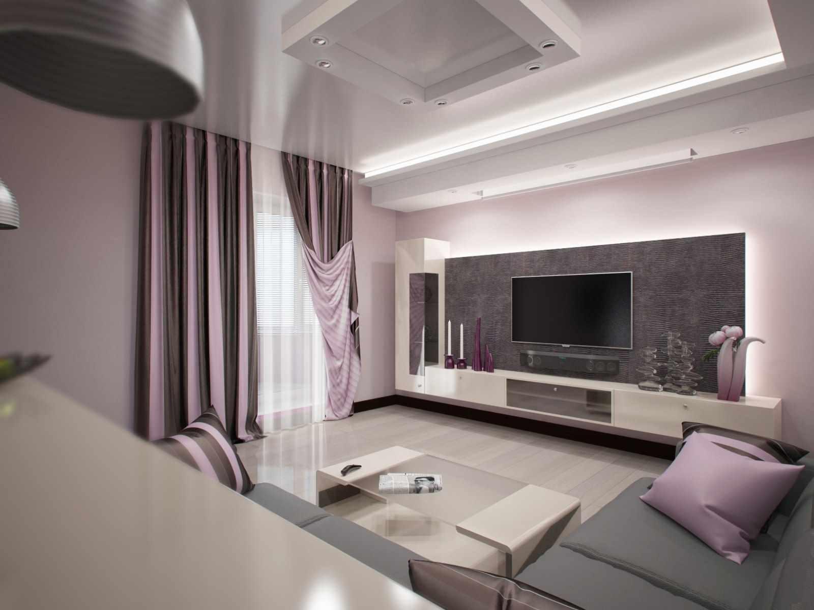 biến thể của nội thất khác thường của phòng khách 19-20 m2