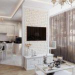 idée de design lumineux d'un salon photo de 25 m²