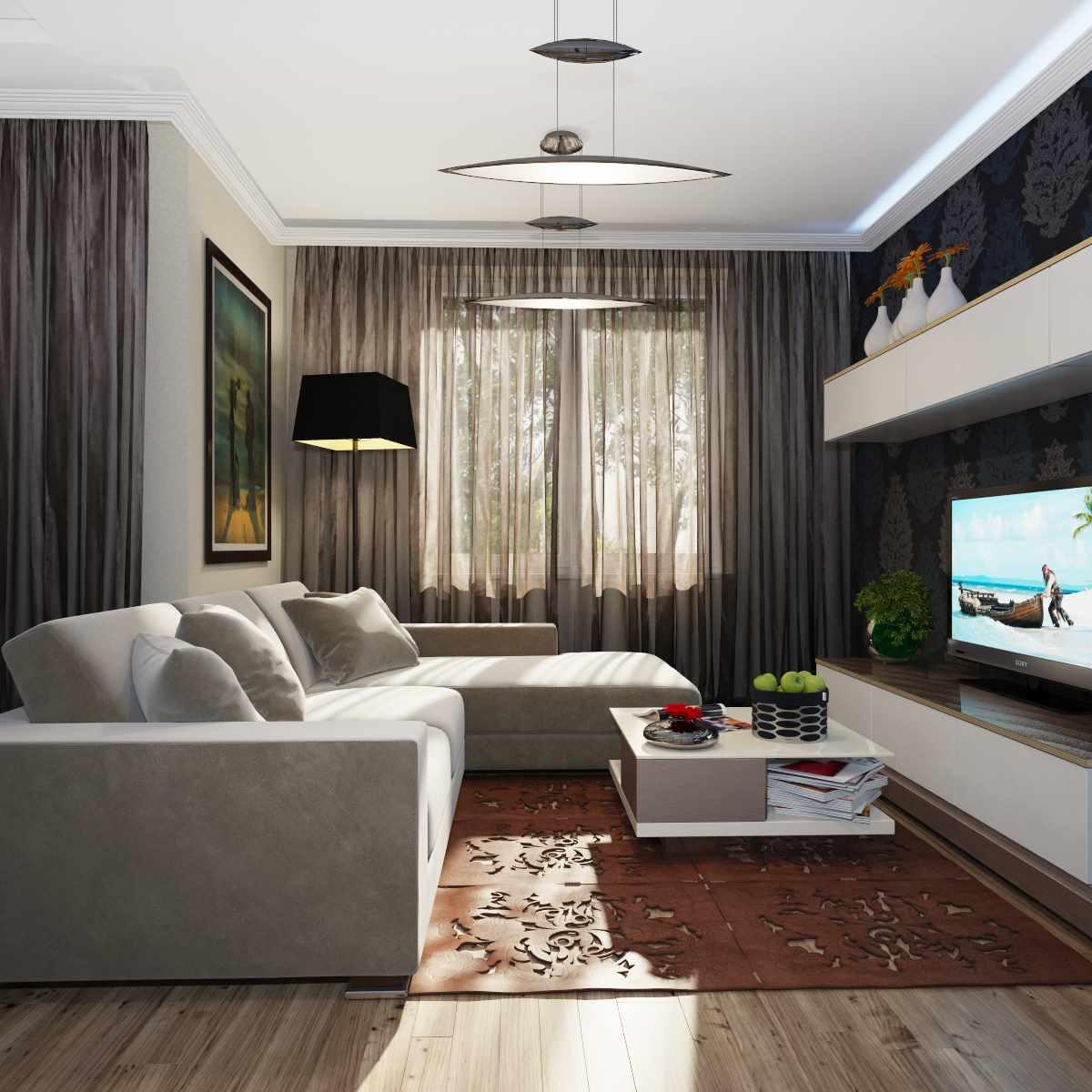 Một ví dụ về thiết kế khác thường của phòng khách 19-20 m2
