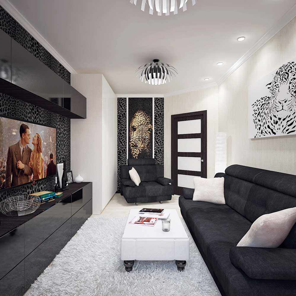 exemple d'une conception inhabituelle d'un salon 16 m²