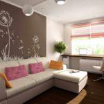 biến thể của nội thất sáng sủa của phòng khách ảnh 19-20 m2