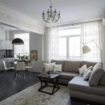 biến thể của việc áp dụng trang trí tươi sáng của phòng khách theo phong cách ảnh tối giản