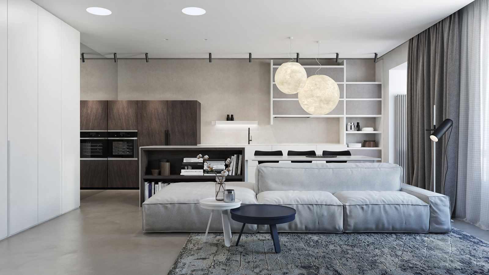 ví dụ về việc sử dụng trang trí tươi sáng của phòng khách theo phong cách tối giản
