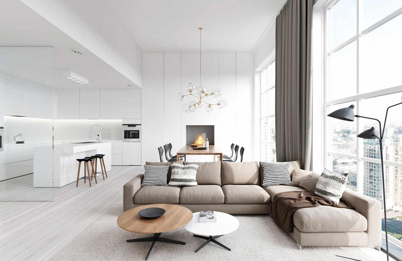 phiên bản ứng dụng thiết kế đẹp của phòng khách theo phong cách tối giản