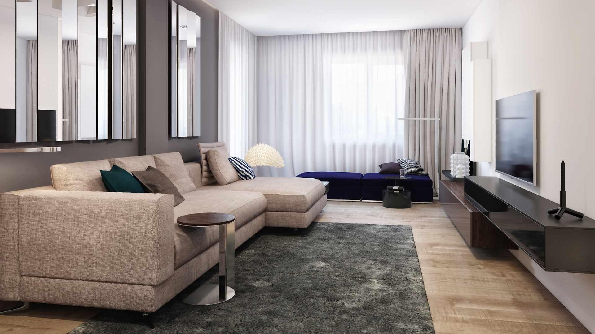 một ví dụ về việc sử dụng nội thất sáng sủa của phòng khách theo phong cách tối giản