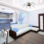 Một ví dụ về thiết kế sáng sủa của phòng khách ảnh 19-20 m2