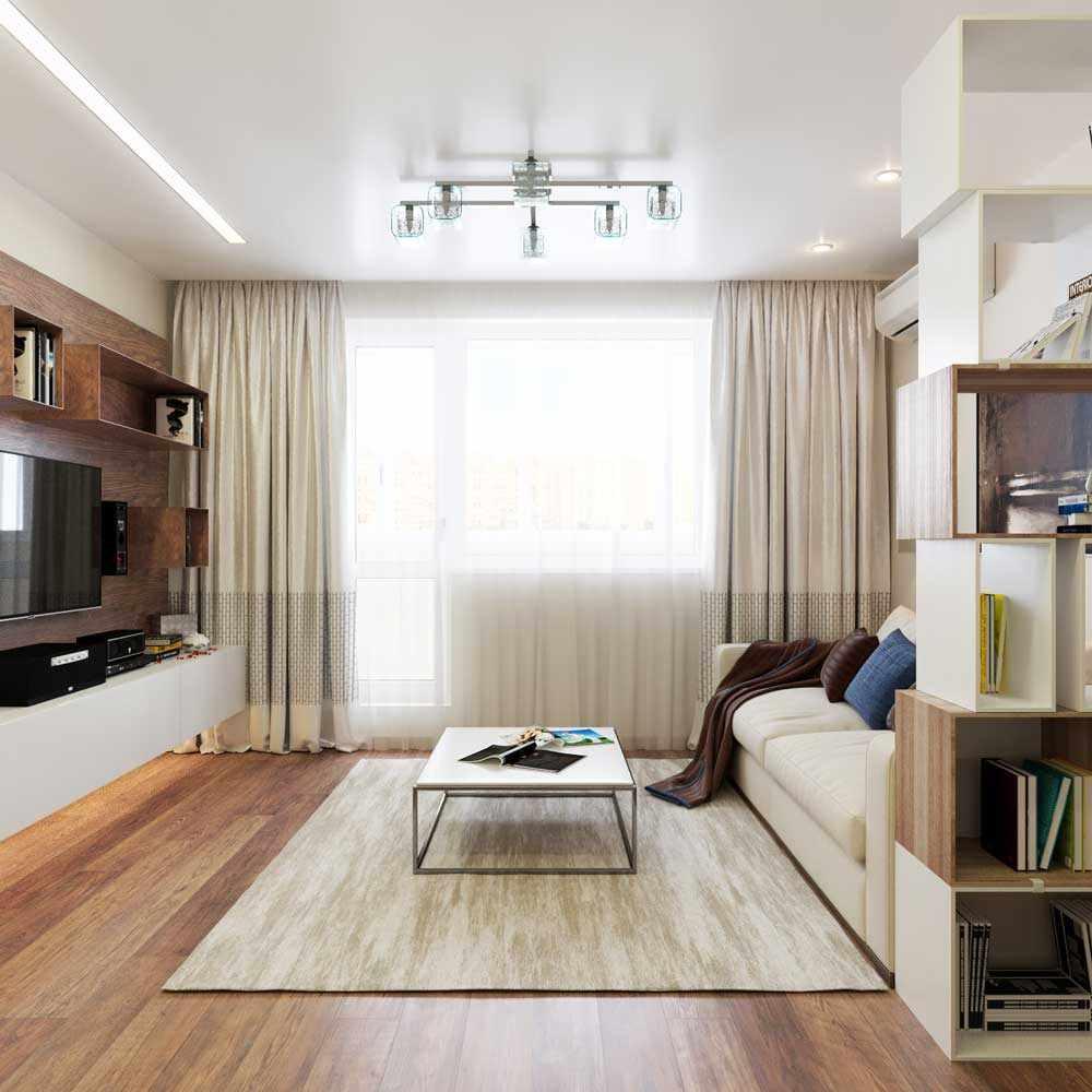 Một ví dụ về trang trí tươi sáng của phòng khách 19-20 m2