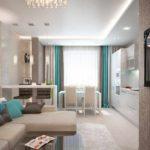variante du style lumineux du salon 17 m² photo