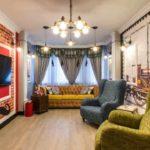 Một ví dụ về nội thất sáng sủa của phòng khách hình ảnh 19-20 m2