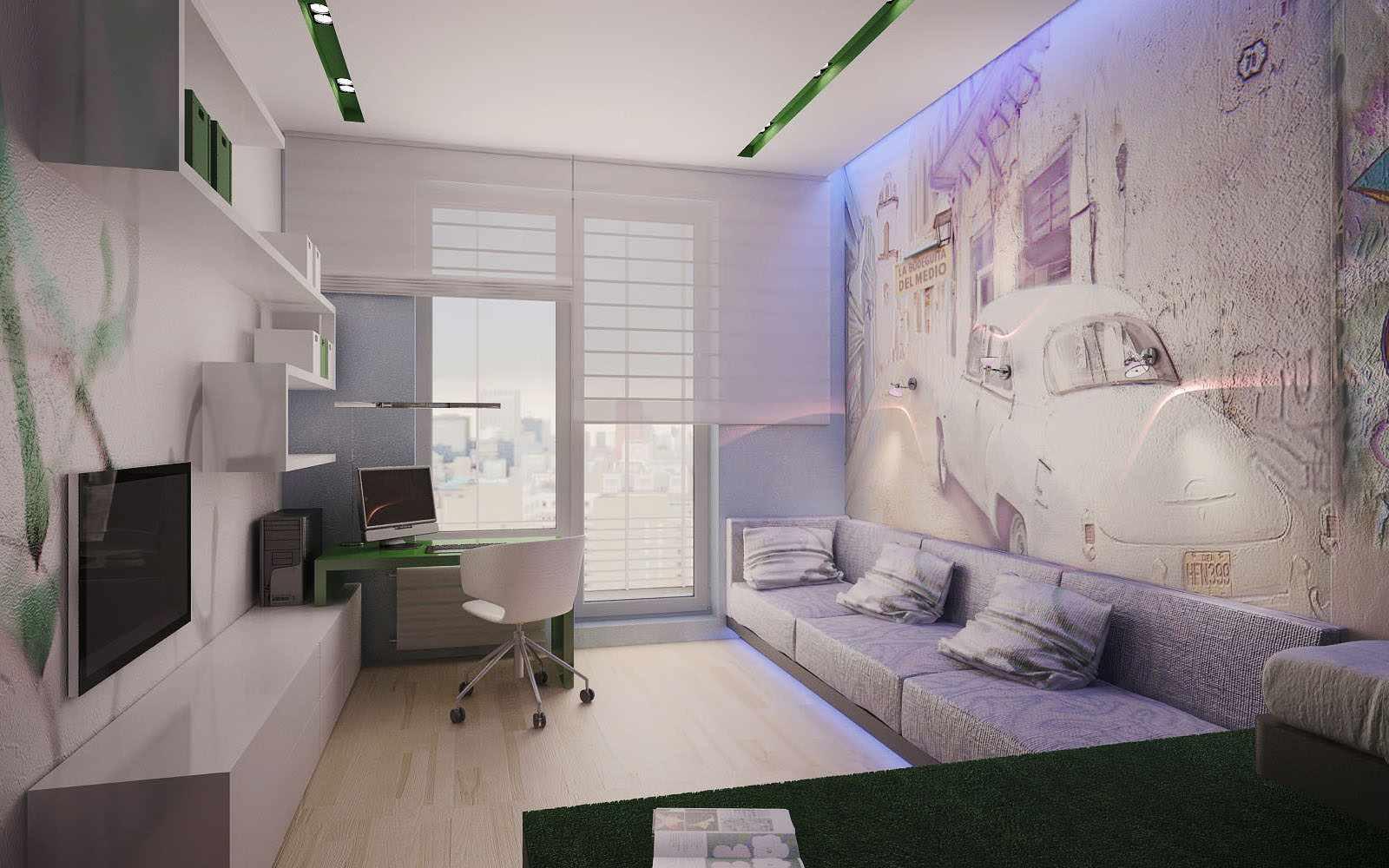 ý tưởng về một phòng khách phong cách tươi sáng 19-20 m2