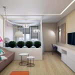 Một ví dụ về một phòng khách nội thất sáng sủa Ảnh 19-20 m2