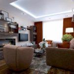 ví dụ về một thiết kế đẹp của một bức tranh phòng khách 19-20 m2