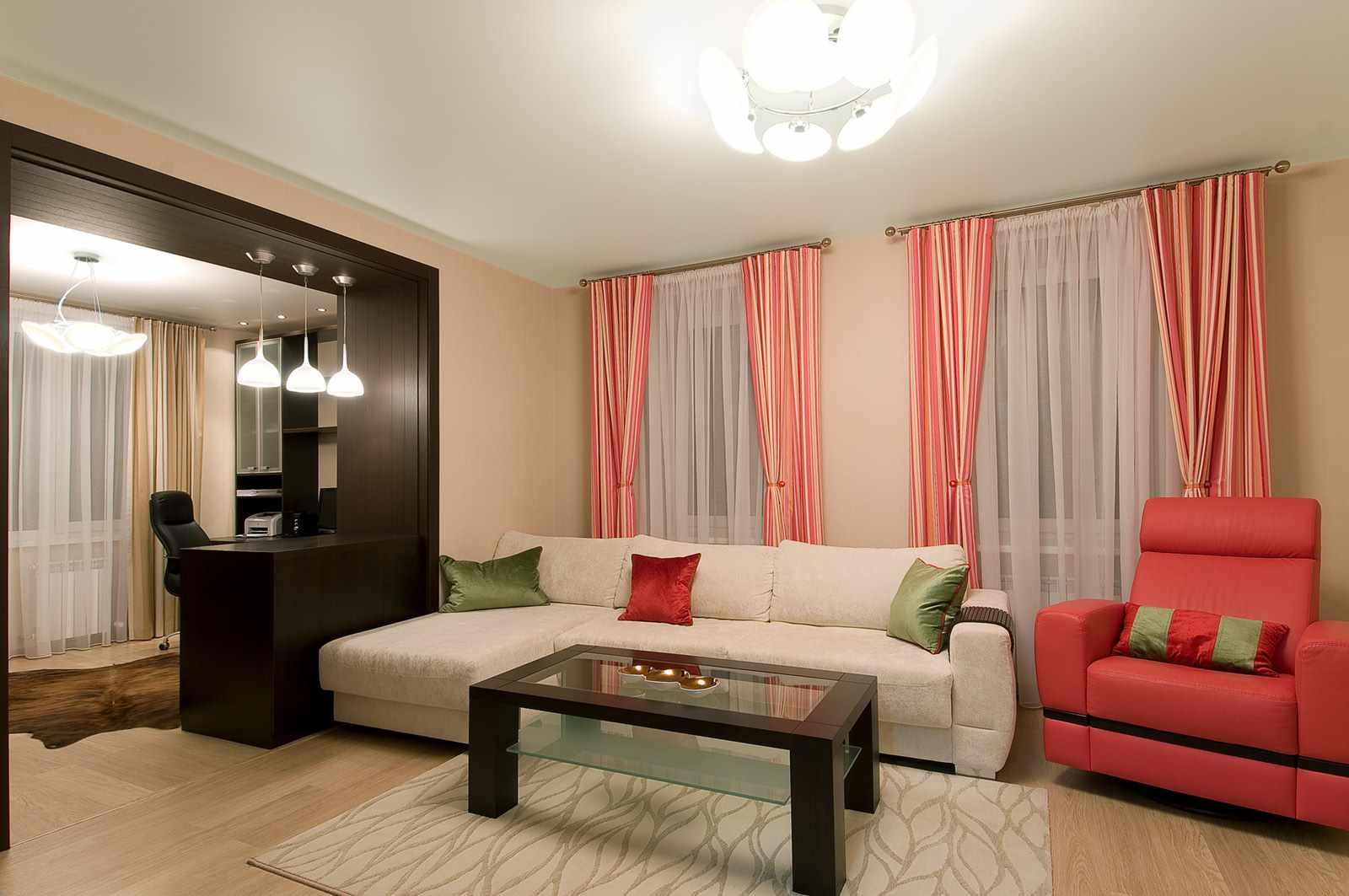 Một ví dụ về nội thất đẹp của phòng khách 19-20 m2