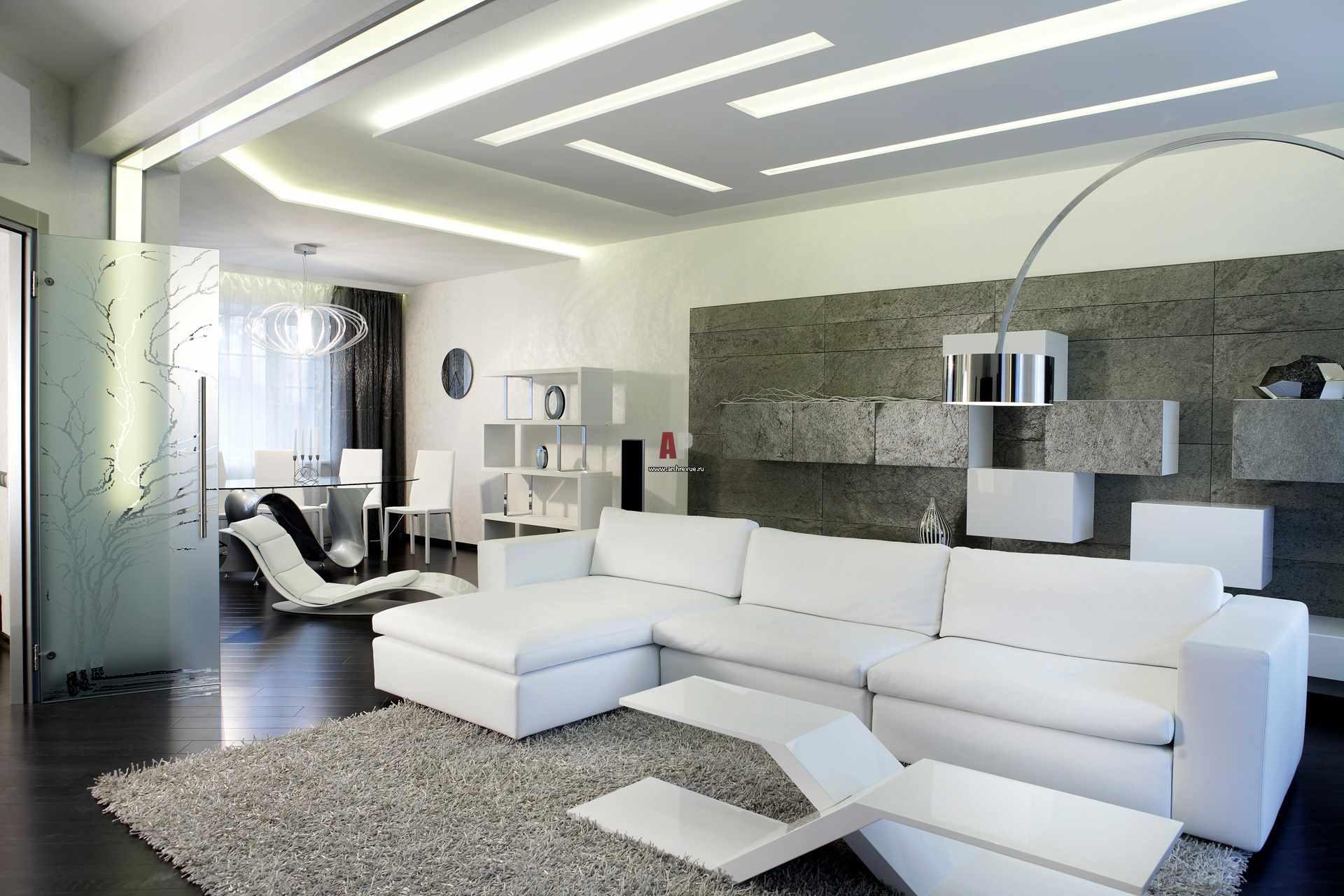 một ví dụ về việc áp dụng nội thất sáng sủa của phòng khách theo phong cách tối giản