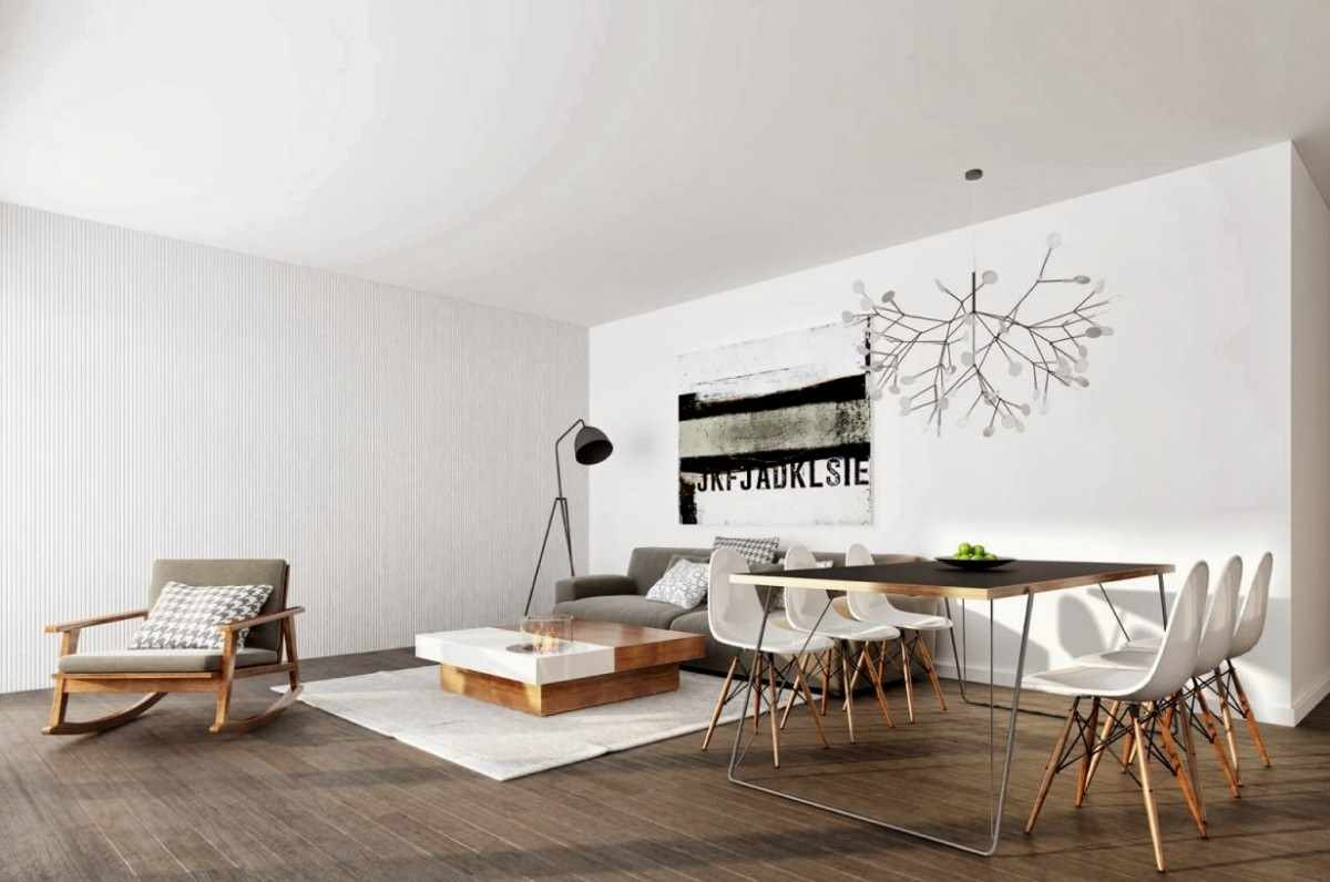 ví dụ về ứng dụng nội thất đẹp của phòng khách theo phong cách tối giản