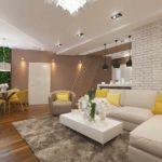 một ví dụ về việc áp dụng một trang trí tươi sáng của một phòng khách theo phong cách của bức tranh tối giản