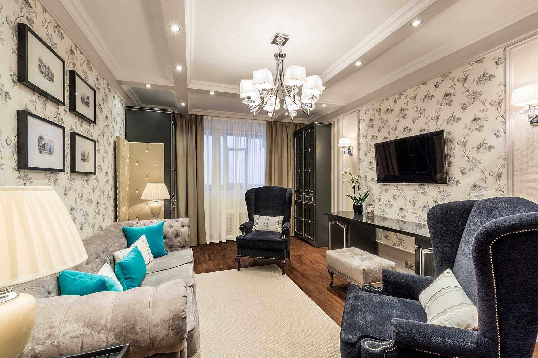 Một ví dụ về thiết kế sáng sủa của phòng khách 19-20 m2