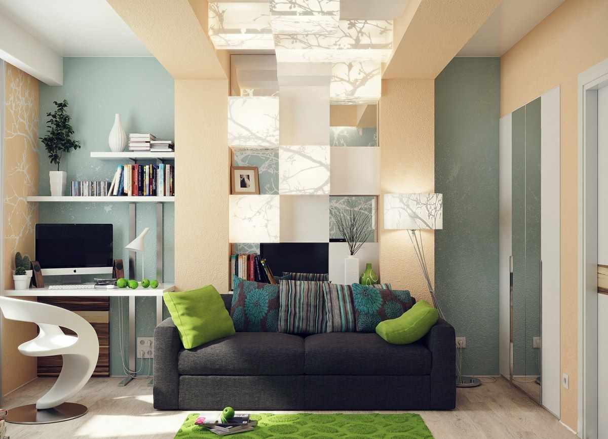 Un exemple de décoration lumineuse d'un salon de 16 m²