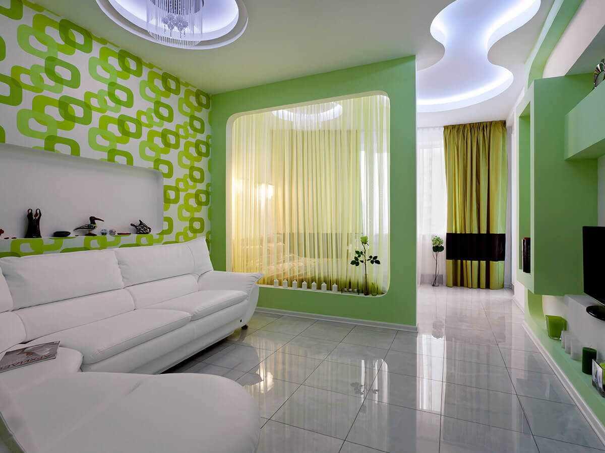 phiên bản của phong cách khác thường của phòng khách 19-20 m2