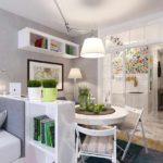variante de l'intérieur lumineux du salon photo de 25 m²