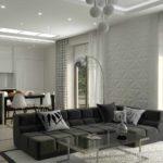 ứng dụng nội thất đẹp của phòng khách theo phong cách tranh tối giản