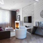 một ví dụ về việc sử dụng một thiết kế khác thường của phòng khách theo phong cách ảnh tối giản