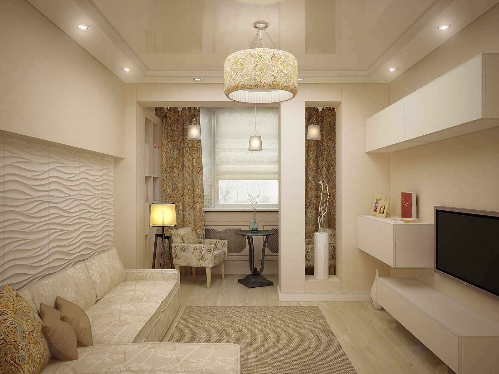 l'idée d'un design lumineux d'un séjour de 17 m²