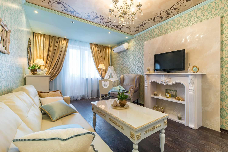 biến thể của phong cách tươi sáng của phòng khách 19-20 m2